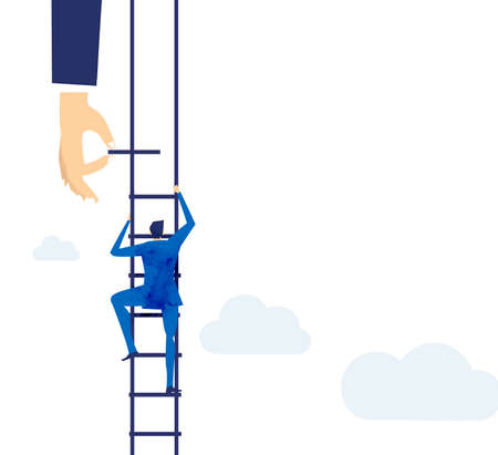 Businessman climbing up with the ladder and looking with the telescope. Ladder of success.