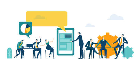 Application  developing team works. Workspace with business people sitting by desk, working together, discussing, negotiating the deal, solving problems. Contemporary management concept business. 向量圖像