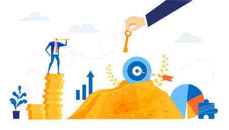 Successful business people bankers stands on top stack of coins, taking, working together, looking for new investments, start up. Best banker winner Business concept in flat design style illustration. 版權商用圖片 - 157948920