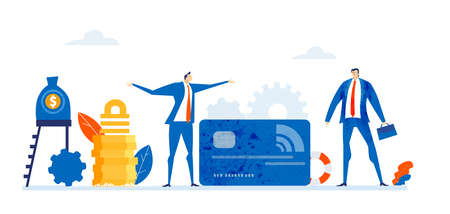Successful business people talking next to credit debit card. Finance and banking concept. Business concept in flat design style illustration.