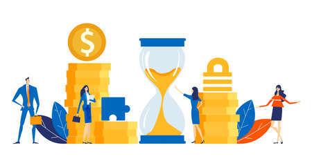 Successful business people bankers stand next to hourglass and stack of coins, working together, looking for new investments, start up. Time is money. Business concept illustration.