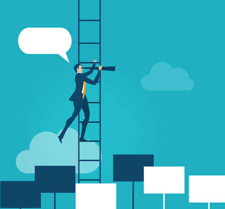 Successful businessman climbs up the ladder. achievement, control, power, winner concept illustration