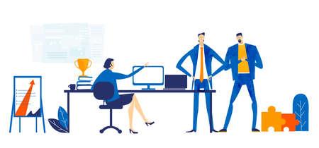 Workspace with business people sitting by desk, working together, discussing, negotiating the deal. Contemporary management concept, solving problem Business concept in flat design style illustration. 向量圖像
