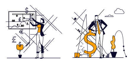 Business people in action illustration set.
