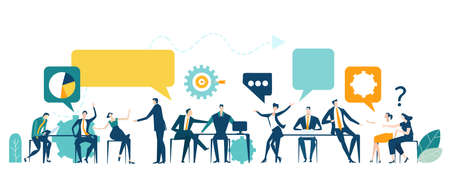 Application developing team works. Workspace with business people sitting by desk, working together, discussing, negotiating the deal, solving problems. Contemporary management concept business. 矢量图像