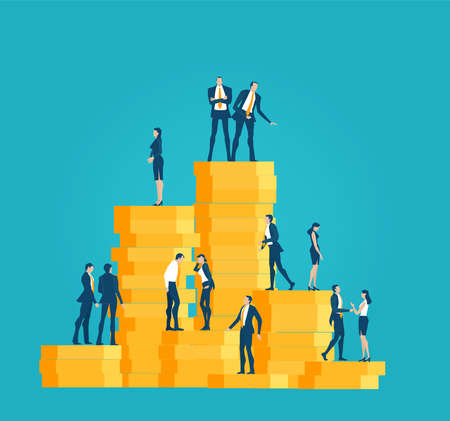 Successful businessman, banker stands on top stack of coins, showing profit and  looking for new investments, start up. Key to success. Business concept in flat design style illustration. 向量圖像
