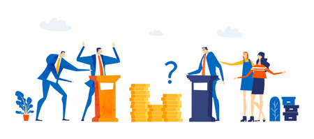 Successful business people, banker stands on top stack of coins, showing profit and  looking for new investments, start up. Key to success. Business concept in flat design style illustration.