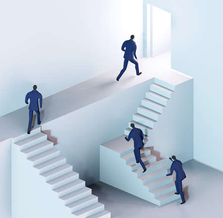 3D render illustration, Business people running on stairs towards success in abstract environment represents solving the problems, finding the right way, advisory, competition and achievement Reklamní fotografie