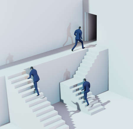 3D render illustration, Business people running on stairs towards success in abstract environment represents solving the problems, finding the right way, advisory, competition and achievement