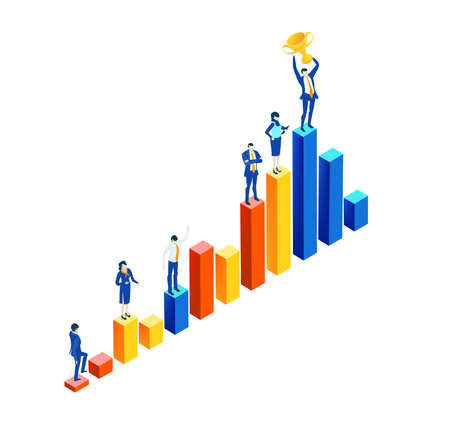 Isometric 3D business environment with business people standing at growth charts bars and holding up golden trophy as symbol of success.