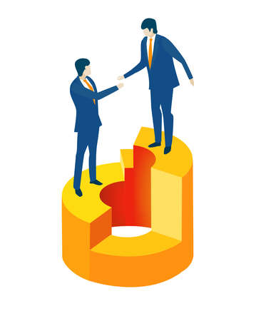 Isometric 3D business environment with business people standing at growth chart and shake hands as symbol of success.