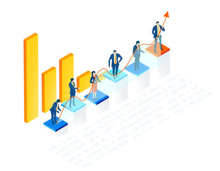 Isometric 3D business environment with business people standing at growth charts bars and holding up arrow as symbol of success.