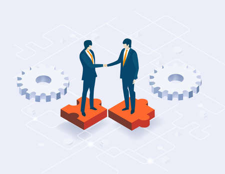 Isometric 3D business environment with business people standing at puzzle pieces and shake hands as symbol of success.