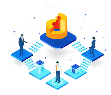 Isometric 3D business environment with business people standing at abstract platforms next to growth charts, shake hands as symbol of success. Çizim