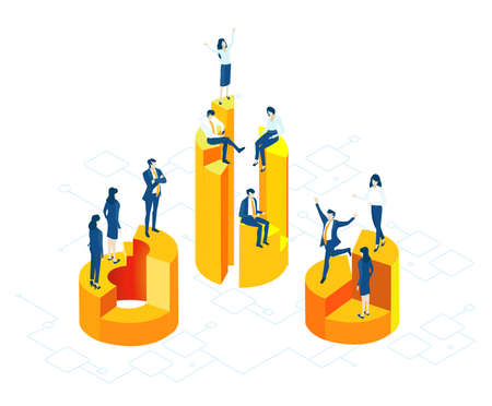 Isometric 3D business environment with business people sit on growth chart and arrow, having seminar, meeting. Success, internet, data protection, security, investments infographic illustration.