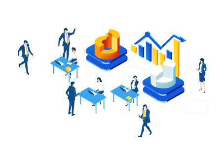 Isometric 3D business environment with business people having seminar, meeting next to growth charts and bars. Success, internet, data protection, security, investments infographic illustration.