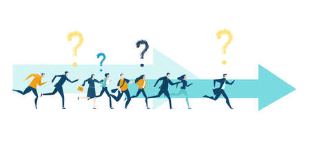 Business people, creative team running forward with question marks above heads Illusztráció