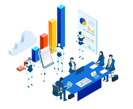 Isometric 3D business environment. Robots and artificial intelligence concept. Business people working together with robots. Human VS robots