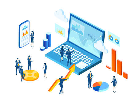 Isometric 3D business environment infographic. Business people work together as one team, the way to success, economy growth, financial advising and business support idea
