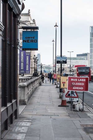 London, UK - February 23, 2021: Strand is a major thoroughfare in the City of Westminster. Strand Empty street view during national lockdown. Covid restrictions, social distancing. Editorial
