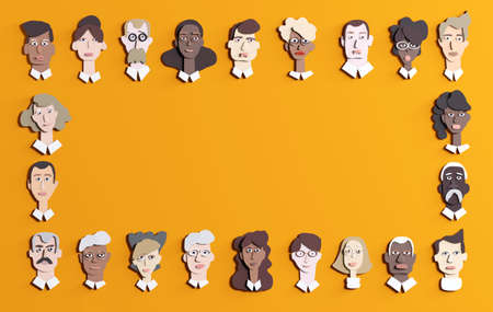 Lots of people's faces made of paper. People different ages and professional backgrounds. Paper cut design 3D render