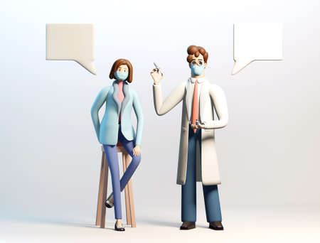 Vaccination concept. Doctor with Covid 19 vaccine. Medical and health concept. 3D render illustration. Banque d'images