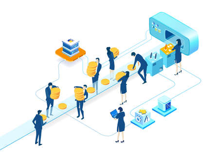 Isometric 3D business environment.  Isometric working space, business people working together next to conveyer belt producing coins. Support, advisory, investments, Business concept infographic.
