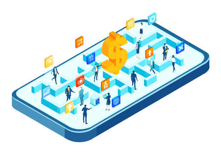 Isometric 3D business environment. Business management infographic. Isometric labyrinth, business people working together,  generating fresh content and new ideas, success, innovation, progress. Illustration