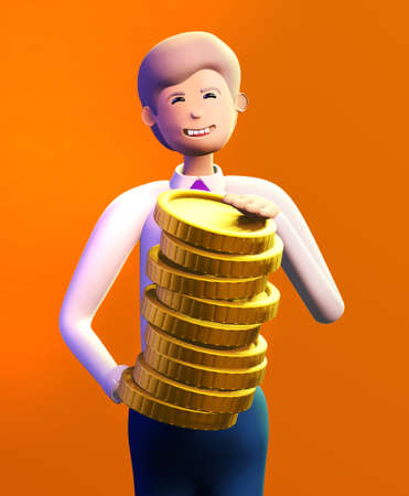 Happy, successful businessman holds  Golden coins. 3D render illustration. Business, banking, consulting, business start up concept