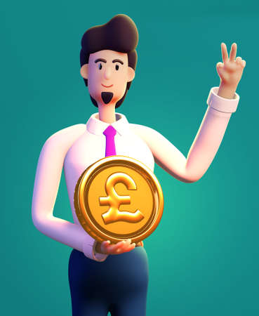 Happy, successful businessman holds  Golden Pound Sterling coin. 3D render illustration. Business, banking, consulting, business start up concept Banque d'images