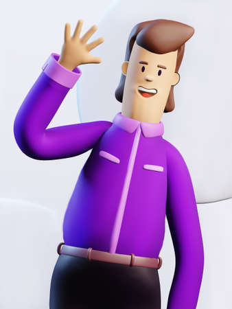 Happy, successful business person waves his hand in order to say Hi. 3D render illustration. Business, banking, consulting, business start up concept.