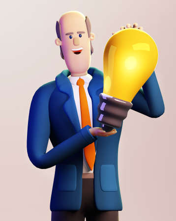 Successful businessman holds light bulb as symbol of new idea and inspiration.  3D render illustration. Business, solving problems, consulting, business start up concept.
