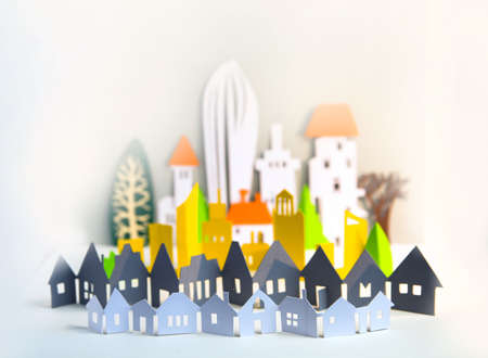 City made of Paper. Paper cut background with buildings and modern skyscrapers. Banque d'images