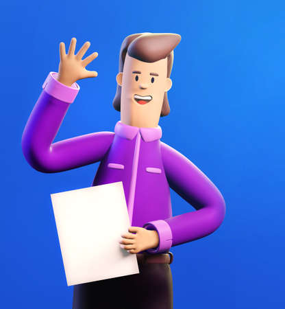 Happy, successful businessman waves his hand in order to say Hi. 3D render illustration. Business, banking, consulting, business start up concept.
