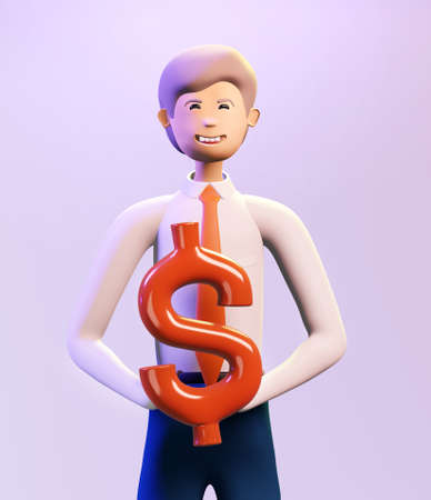 Happy, successful businessman holds Dollar sign. 3D render illustration. Business, banking, consulting, business start up concept