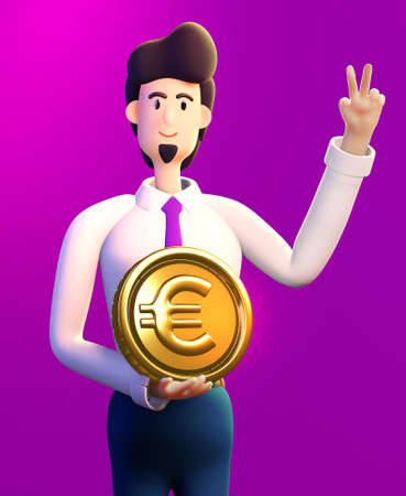Happy, successful businessman holds  Golden Euro coin. 3D render illustration. Business, banking, consulting, business start up concept Banque d'images
