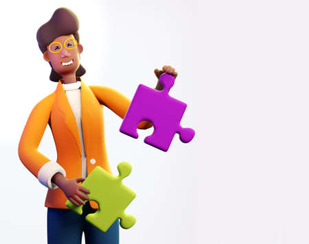 Successful businessman holds puzzle pieces. 3D render illustration. Business, solving problems, consulting, business start up concept.