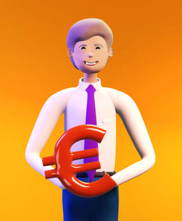 Happy, successful business person holds Euro sign. 3D render illustration. Business, banking, consulting, business start up concept Banque d'images