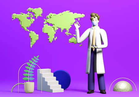 Vaccination concept. Doctor with Covid 19 vaccine. Vaccine global distribution. 3D render illustration.