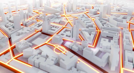 3D Render Abstract city. Modern City plan, streets and skyscrapers with neon traffic lights. Business planning, strategy and investment