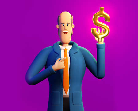 Happy, successful business person holds Golden Dollar sign. 3D render illustration. Business, banking, consulting, business start up concept