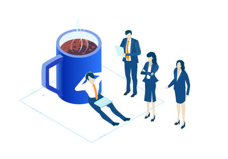 Business people relaxing next to coffee mag. Isometric 3D business environment. Business management infographic. Isometric working space