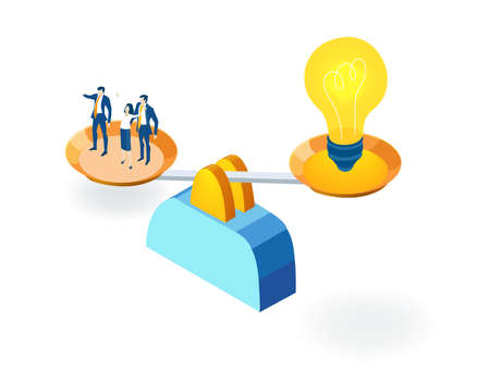 Business people and scale. Light build, great ideas and unique business approach. Partnerships. New start up. Isometric iconographic of business working space with people, business concept Vetores