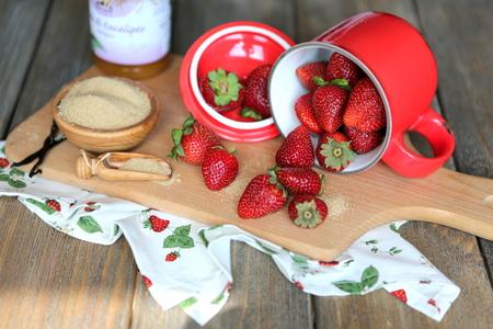 summer strawberries in the mug - still life photo