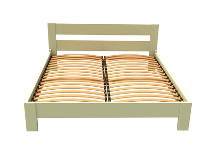 3d wooden bed white on a white background Stock Photo - 8603164
