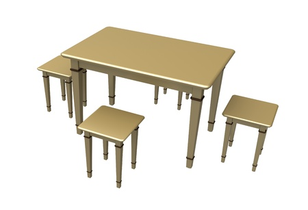3d Table wooden with four stools on a white background photo