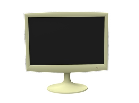 The monitor wide-screen white on a white background Stock Photo - 8644228