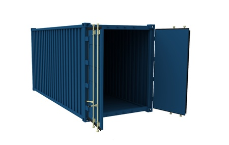 The sea container with open doors on a white background photo