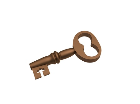 Bronze key on a white background Stock Photo - 8779208