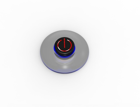 The black button with blue illumination on a white background Stock Photo - 8779223